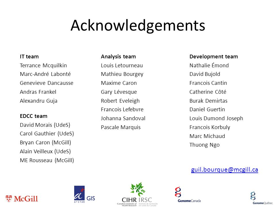 Acknowledgements guil.bourque@mcgill.ca IT team Terrance Mcquilkin