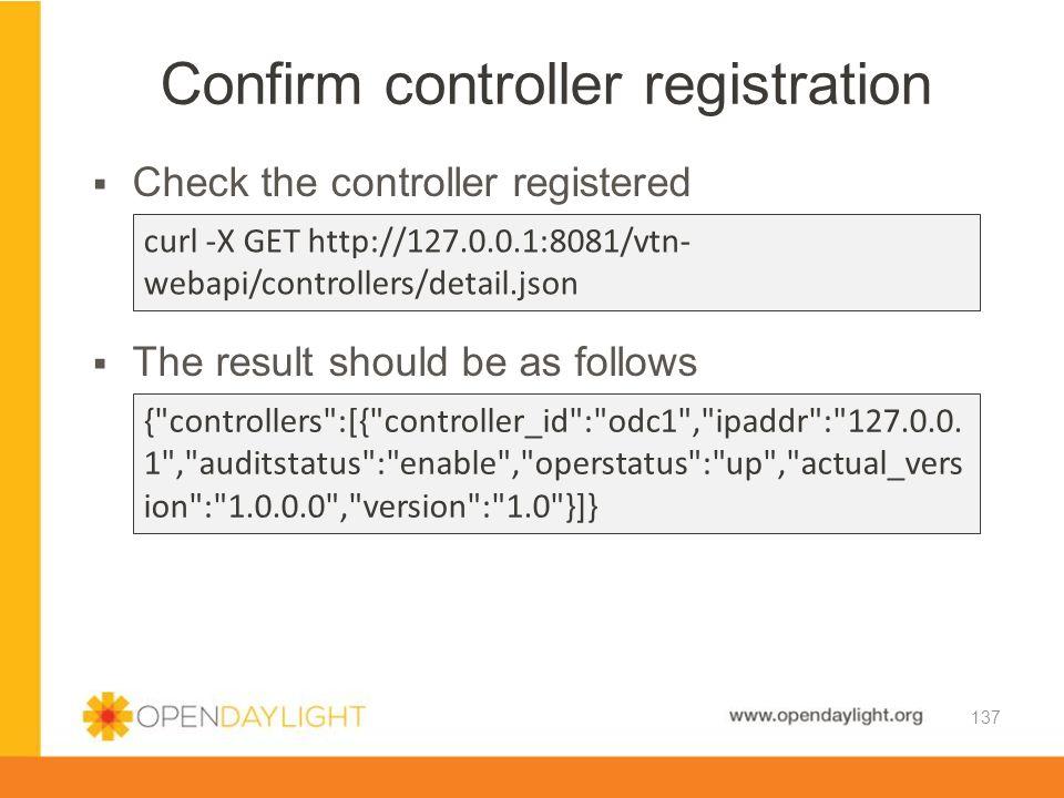 Confirm controller registration