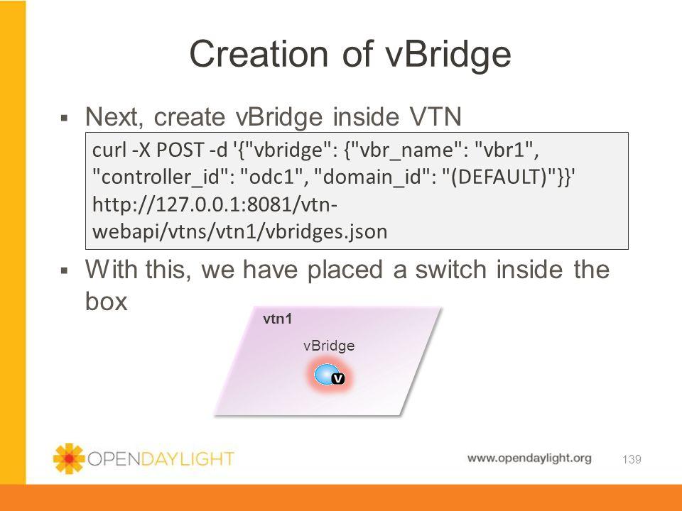 Creation of vBridge Next, create vBridge inside VTN