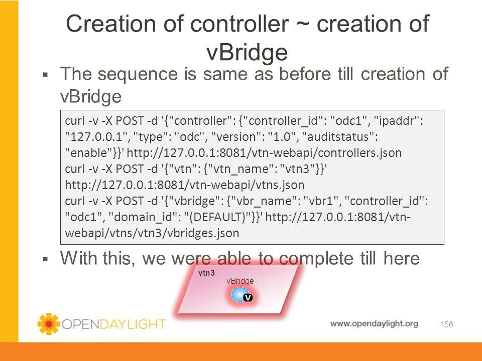 Creation of controller ~ creation of vBridge