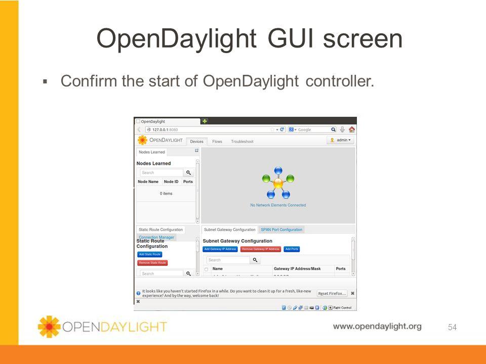 OpenDaylight GUI screen