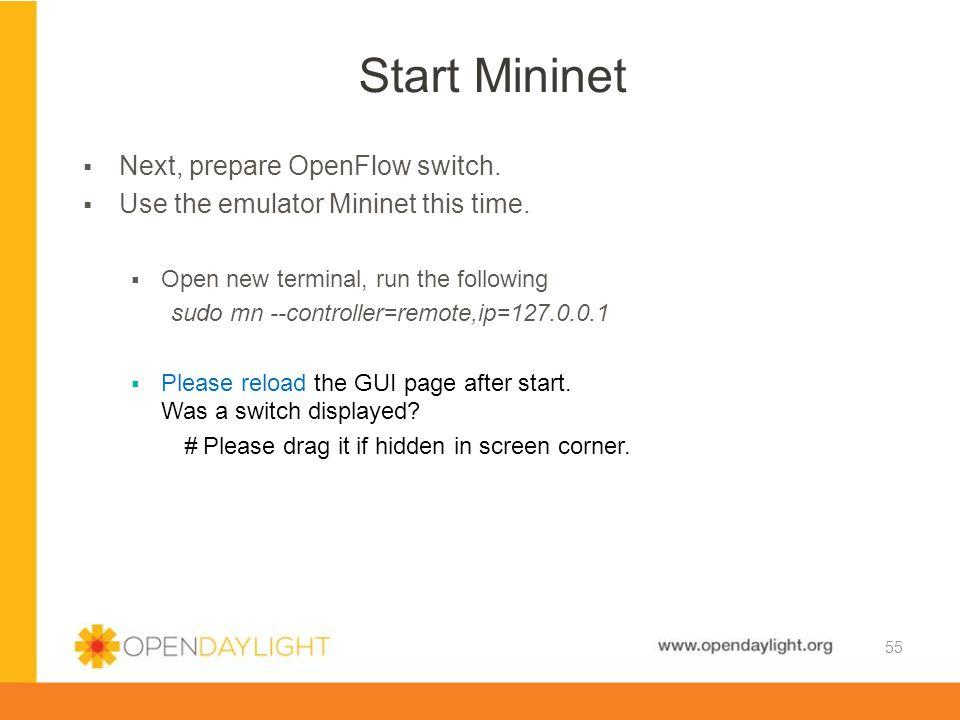 Start Mininet Next, prepare OpenFlow switch.