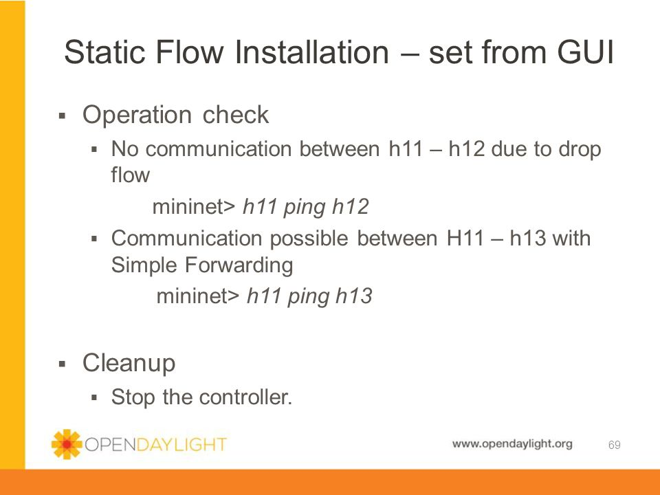 Static Flow Installation – set from GUI