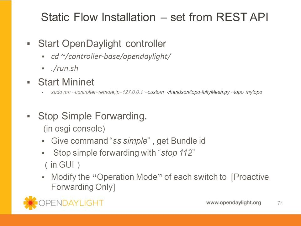 Static Flow Installation – set from REST API