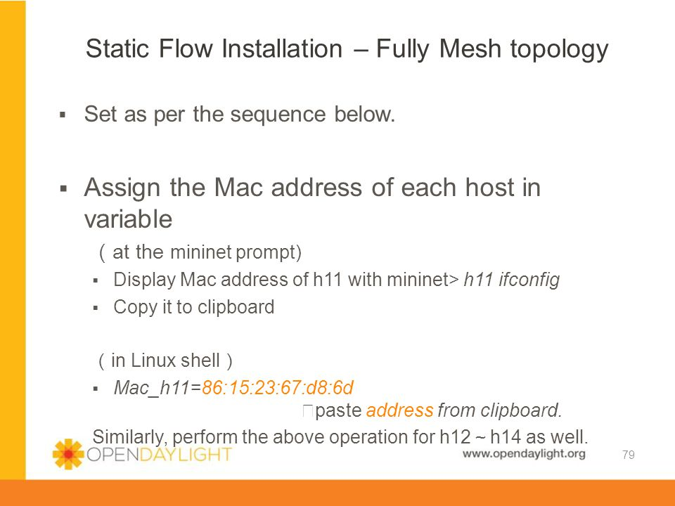 Static Flow Installation – Fully Mesh topology