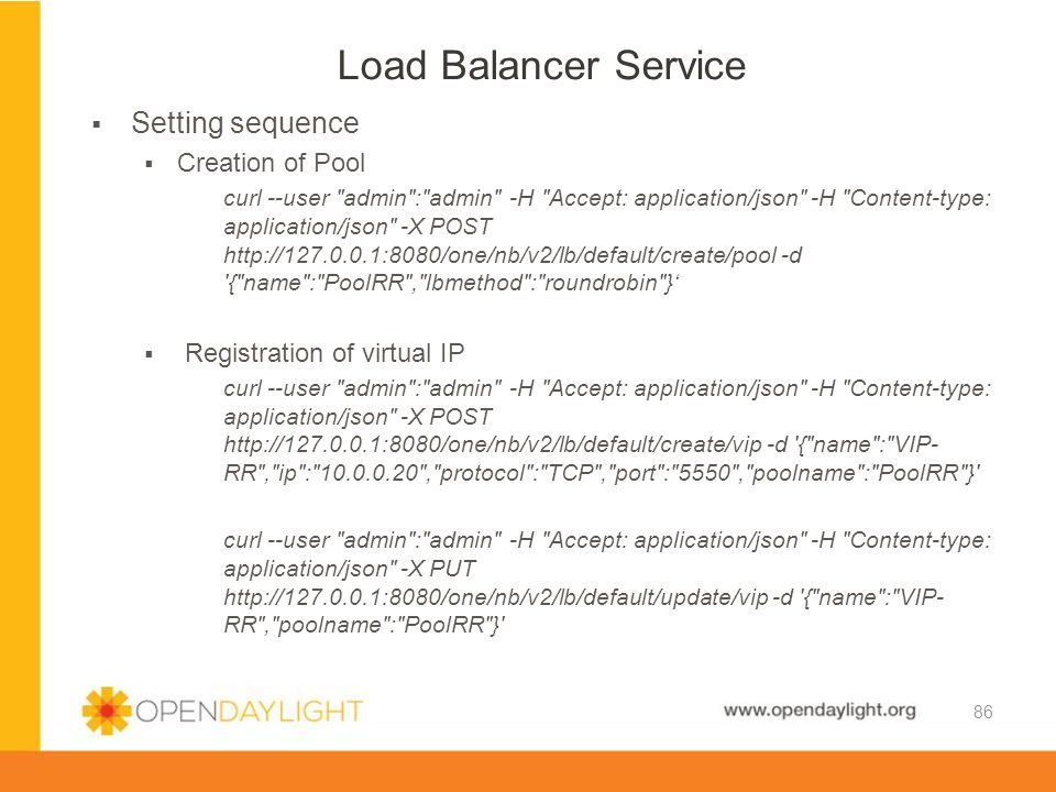 Load Balancer Service Setting sequence Creation of Pool