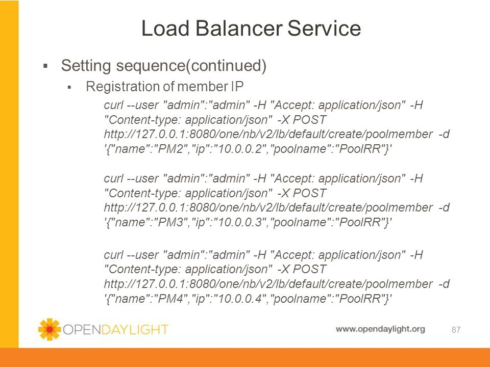 Load Balancer Service Setting sequence(continued)