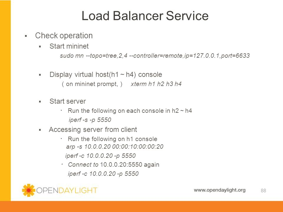 Load Balancer Service Check operation Start mininet
