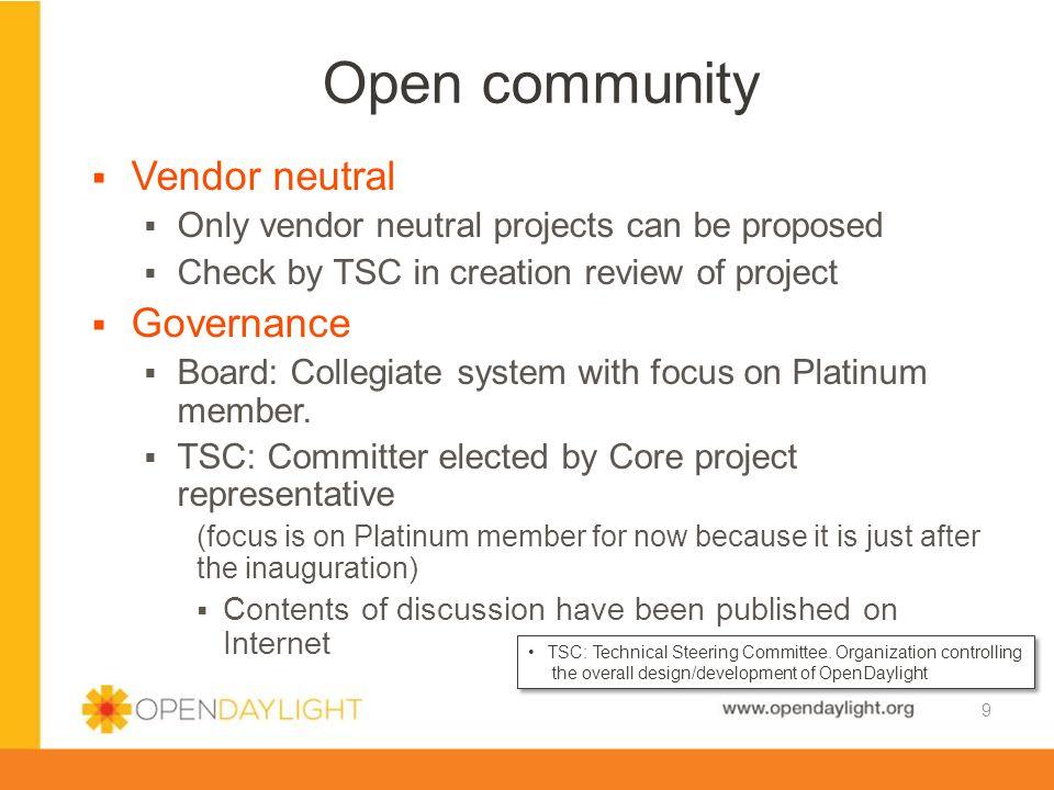 Open community Vendor neutral Governance