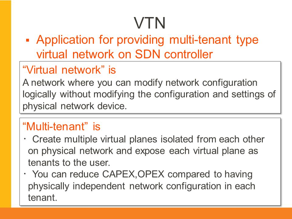 VTN Application for providing multi-tenant type virtual network on SDN controller. Virtual network is.