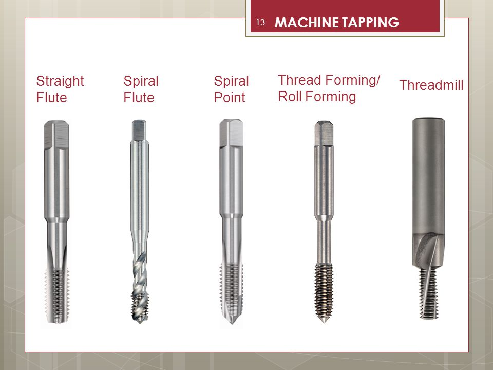 MACHINE TAPPING Straight Flute Spiral Flute Spiral Point Thread Forming/ Roll Forming Threadmill