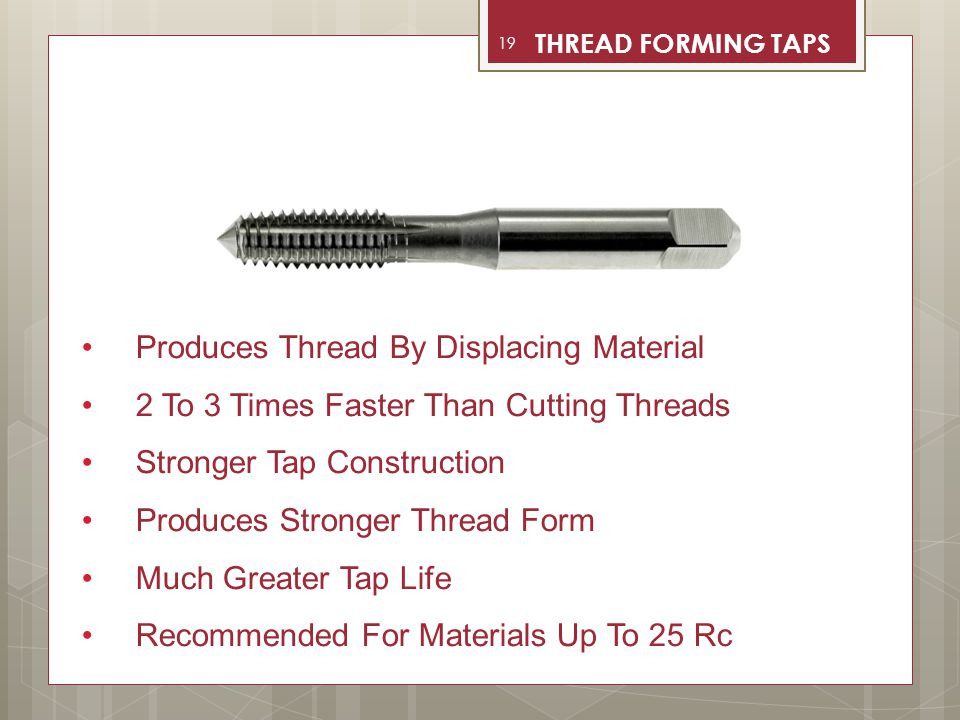 Produces Thread By Displacing Material