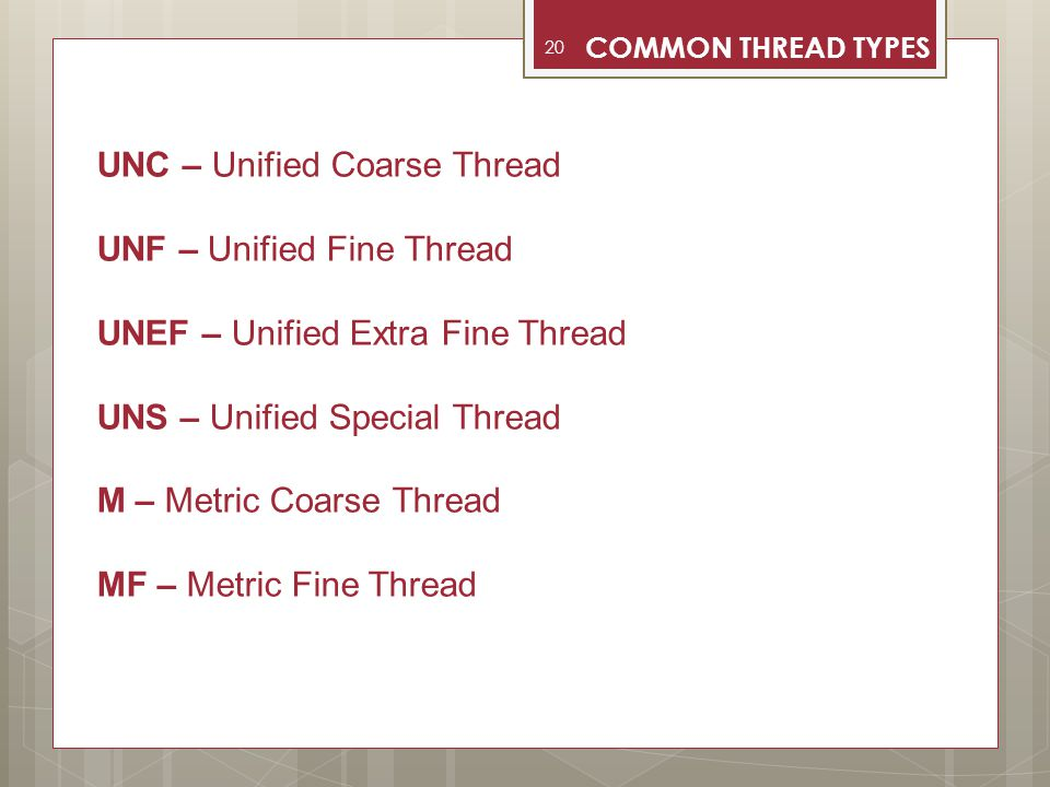 UNC – Unified Coarse Thread UNF – Unified Fine Thread
