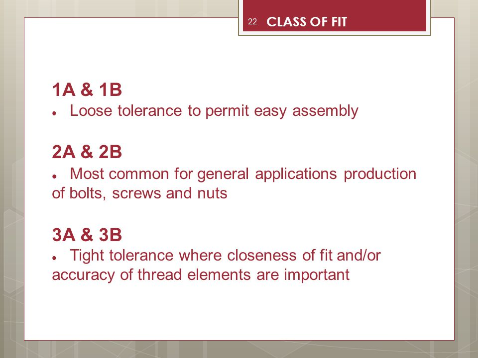CLASS OF FIT 1A & 1B. Loose tolerance to permit easy assembly. 2A & 2B. Most common for general applications production of bolts, screws and nuts.