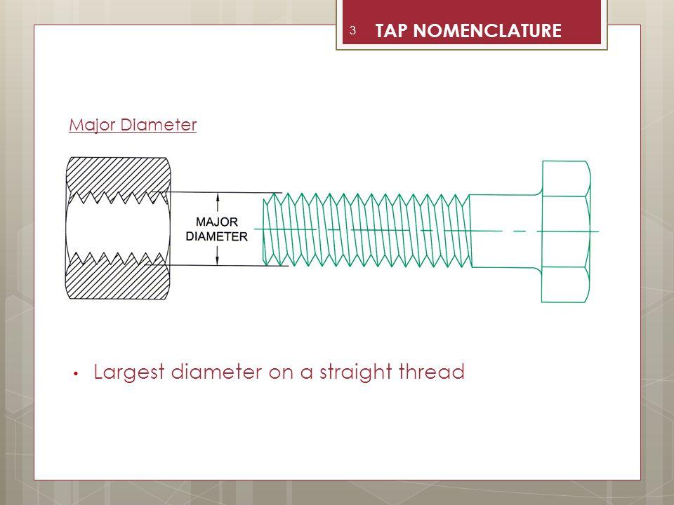 Largest diameter on a straight thread