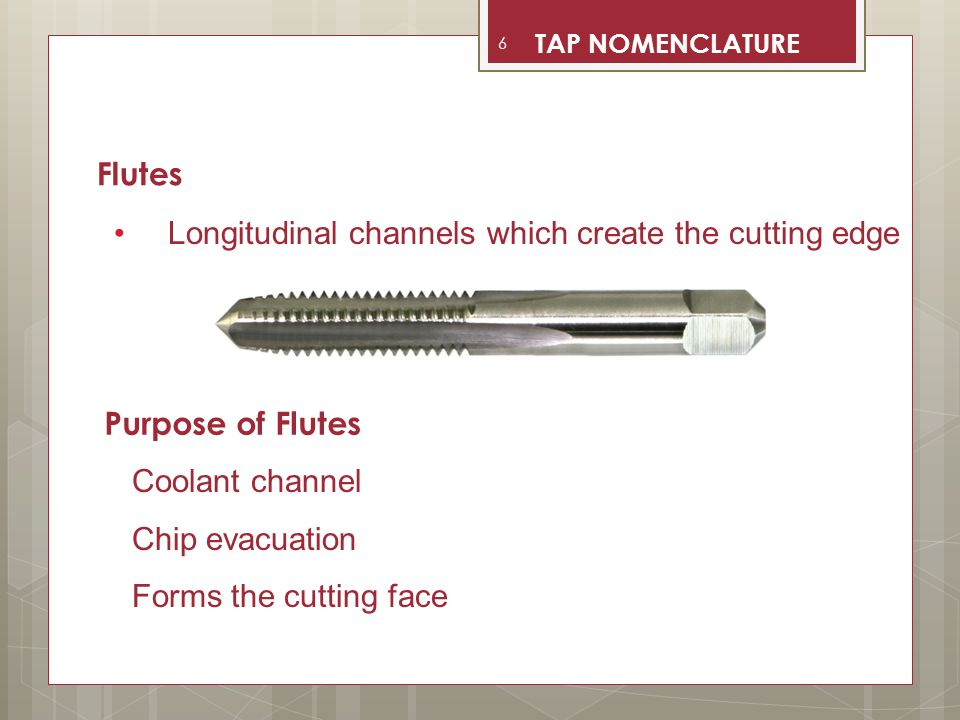 Longitudinal channels which create the cutting edge