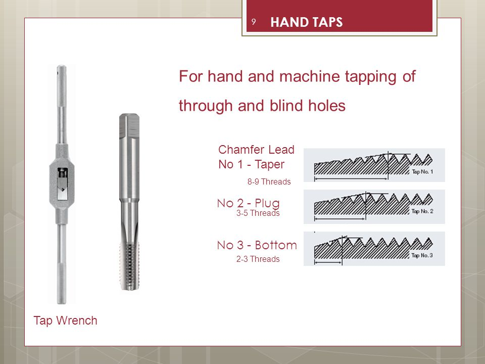 For hand and machine tapping of through and blind holes