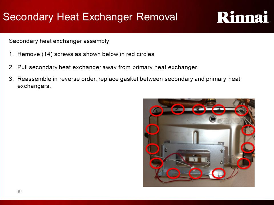 Secondary Heat Exchanger Removal