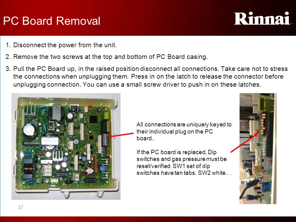PC Board Removal Disconnect the power from the unit.