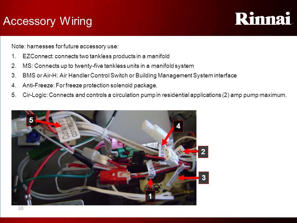 Accessory Wiring 5 4 2 3 1 Note: harnesses for future accessory use: