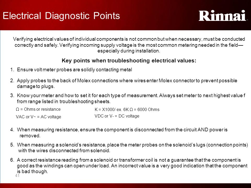 Key points when troubleshooting electrical values: