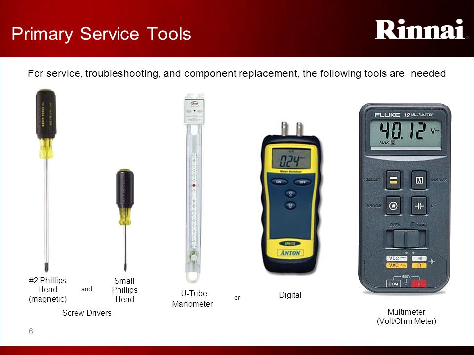 Primary Service Tools For service, troubleshooting, and component replacement, the following tools are needed.