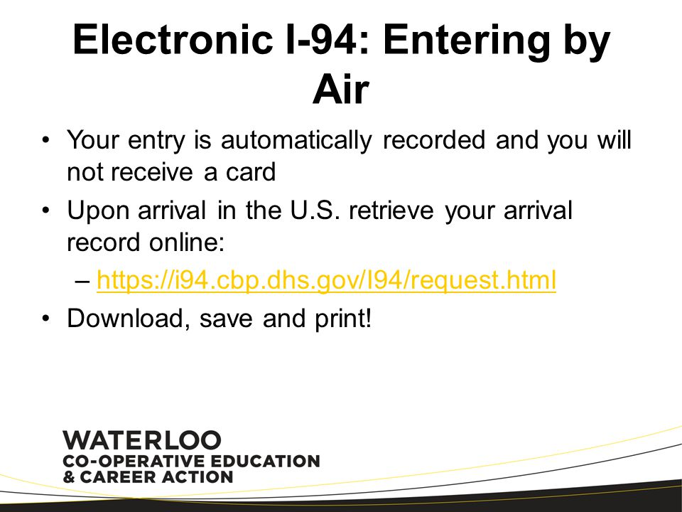 Electronic I-94: Entering by Air