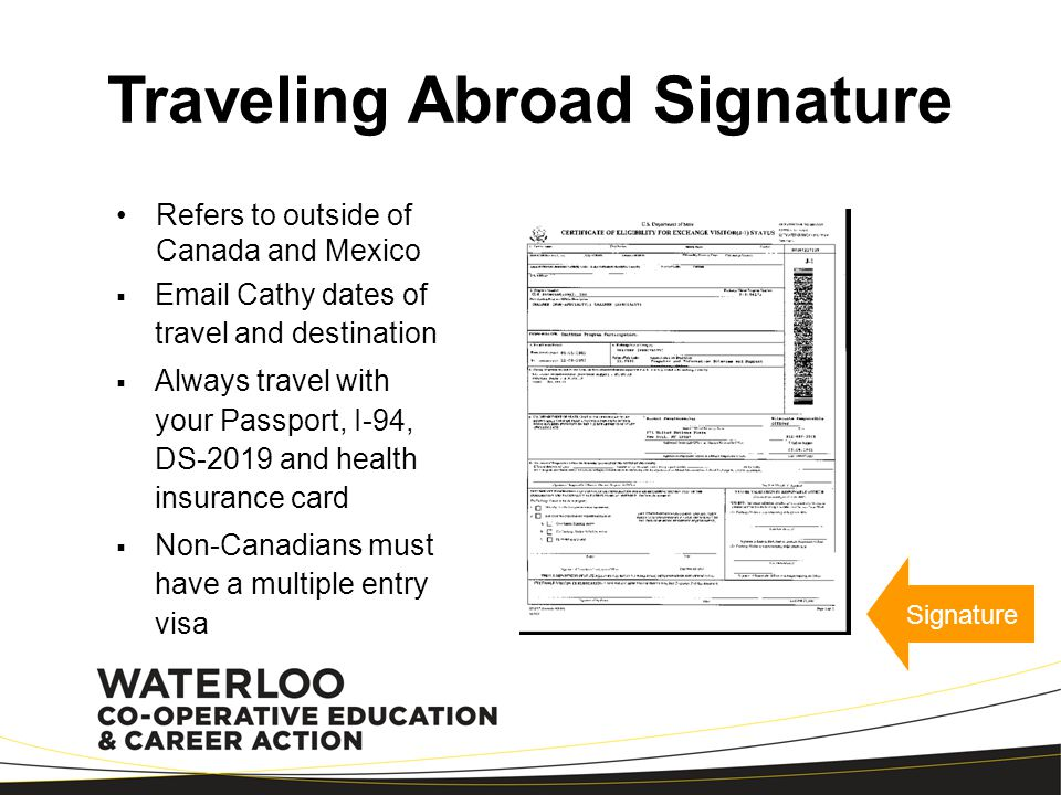 Traveling Abroad Signature