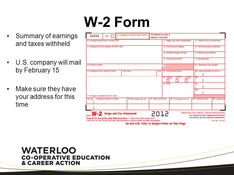 W-2 Form Summary of earnings and taxes withheld