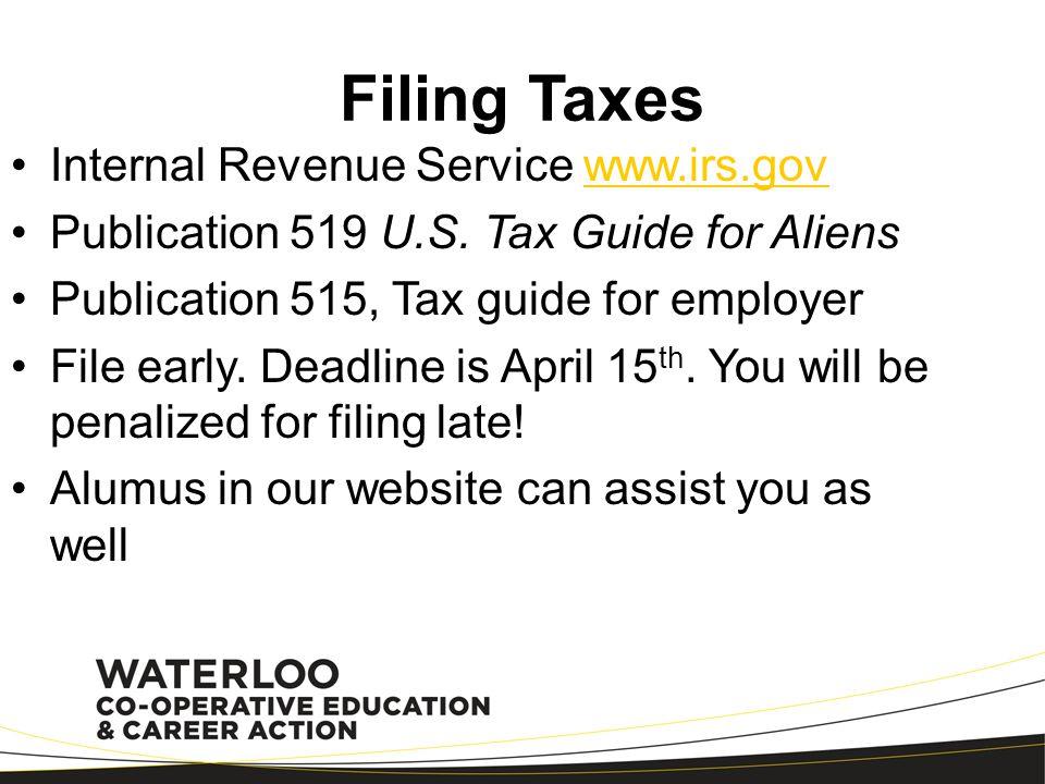 Filing Taxes Internal Revenue Service www.irs.gov