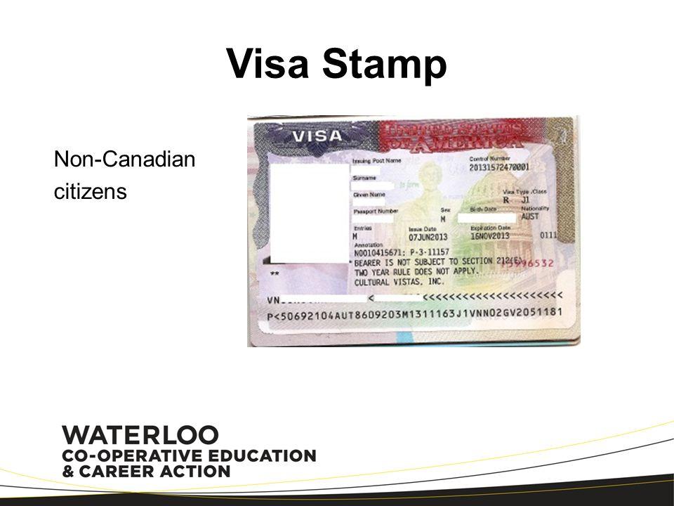 Visa Stamp Non-Canadian citizens