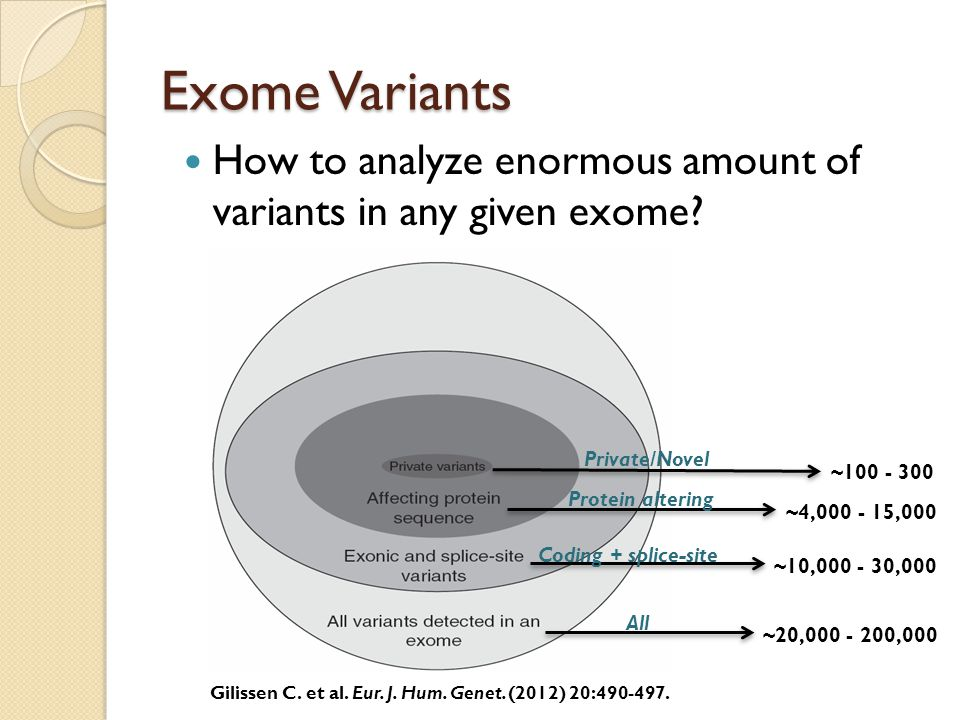 Exome Variants How to analyze enormous amount of variants in any given exome Gilissen C. et al. Eur. J. Hum. Genet. (2012) 20:490-497.
