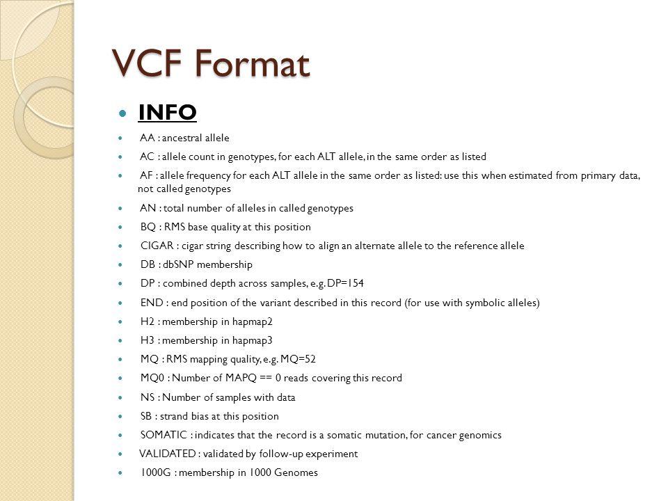 VCF Format INFO AA : ancestral allele