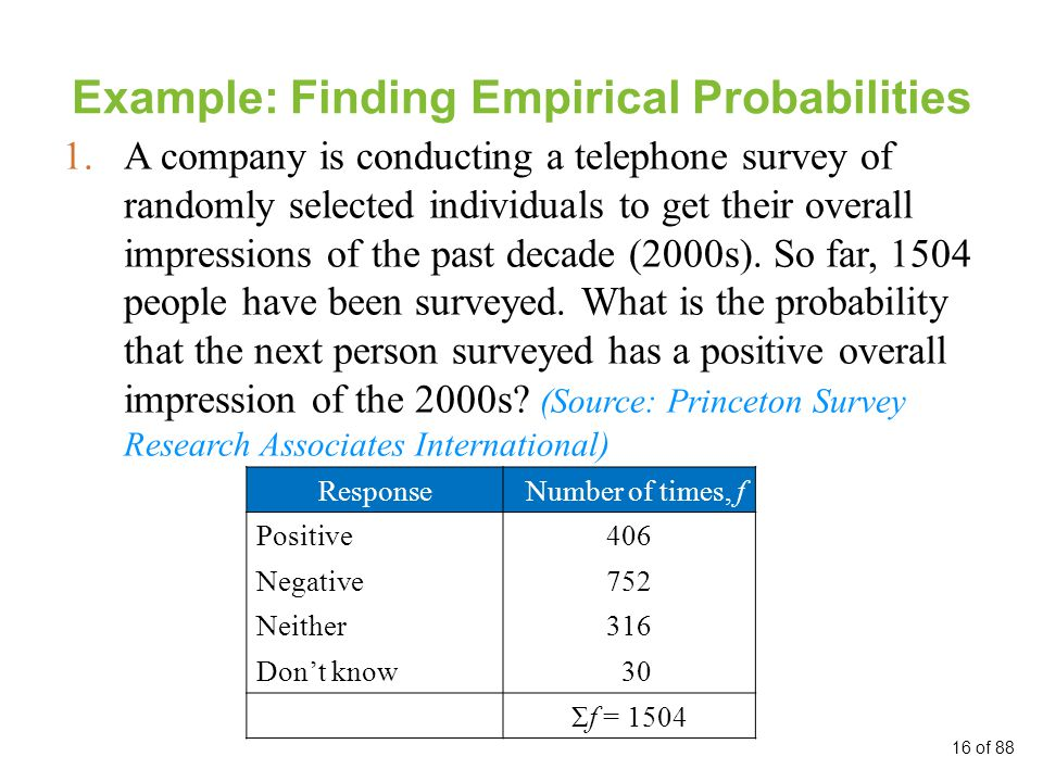 Example: Finding Empirical Probabilities