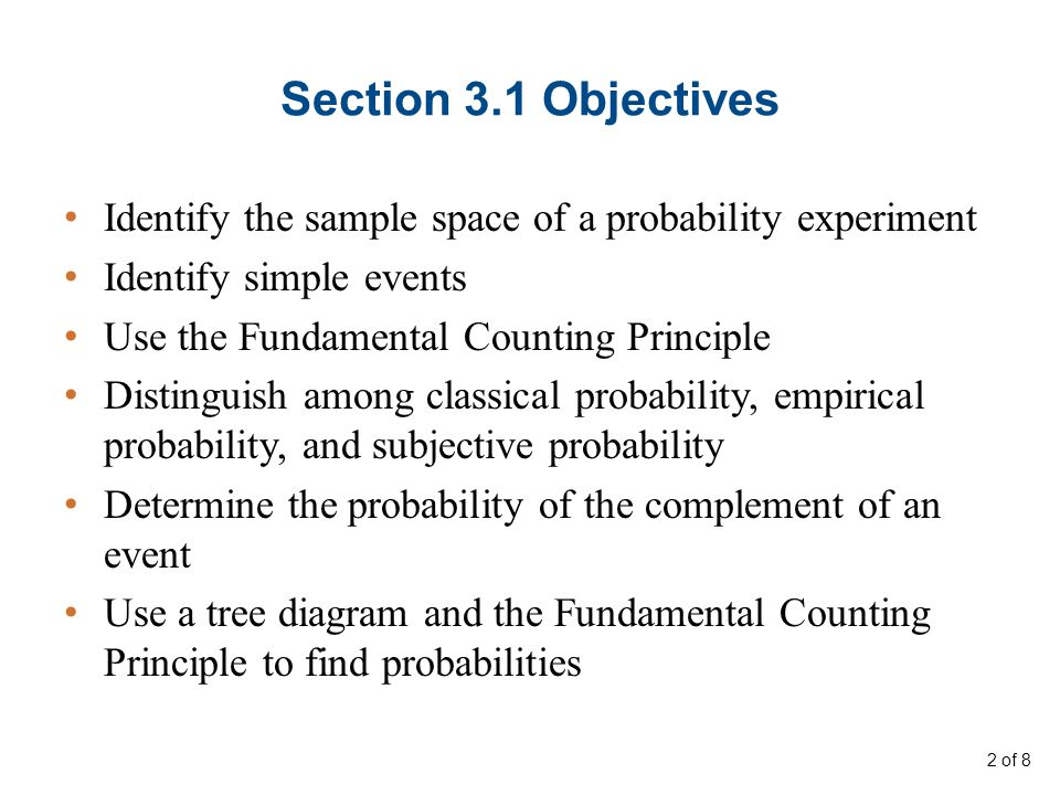 Section 3.1 Objectives Identify the sample space of a probability experiment. Identify simple events.