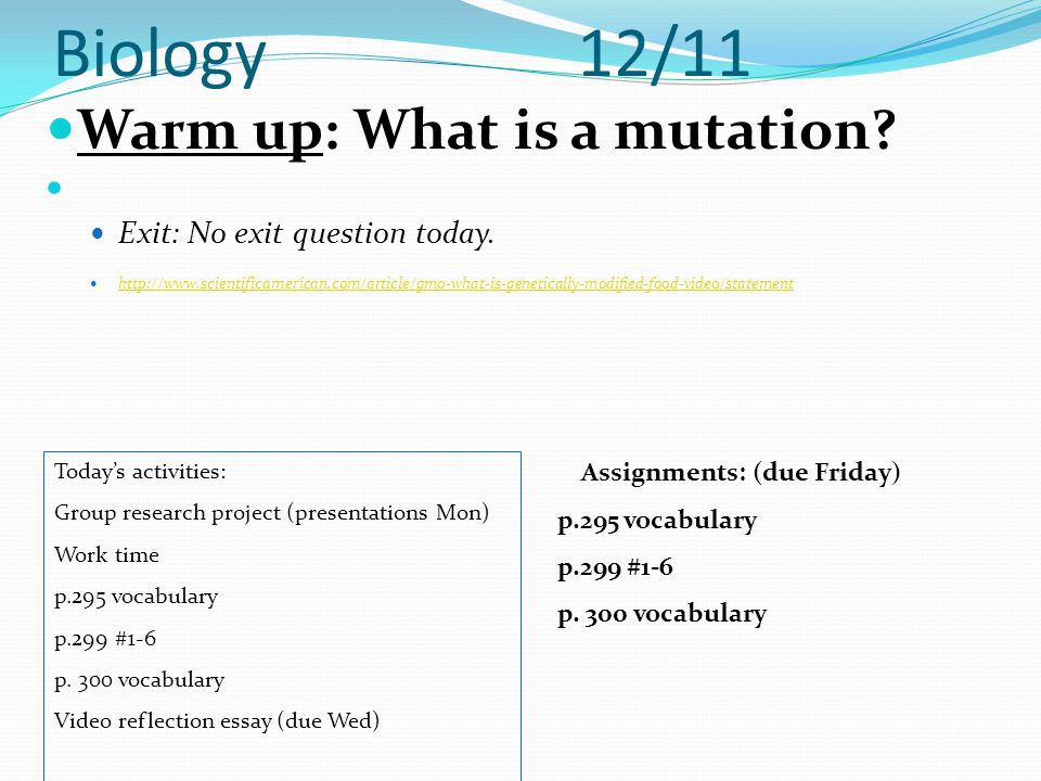biology warm up what is a mutation ppt  1 biology