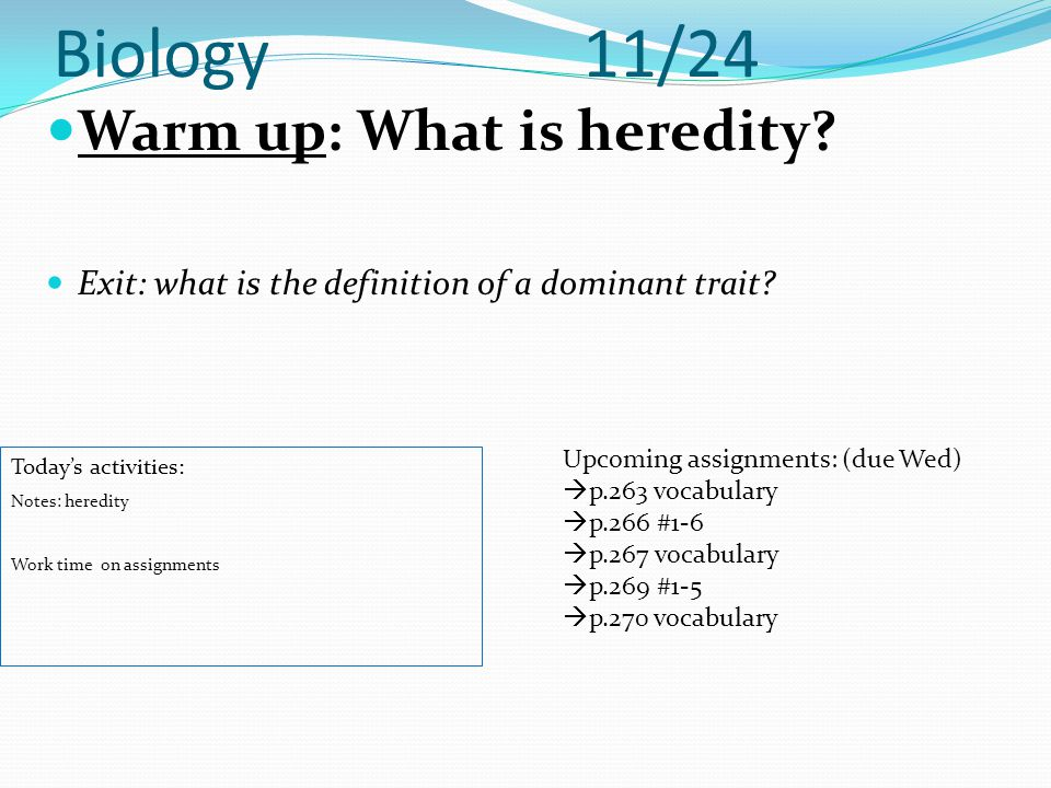 Biology 11/24 Warm up: What is heredity