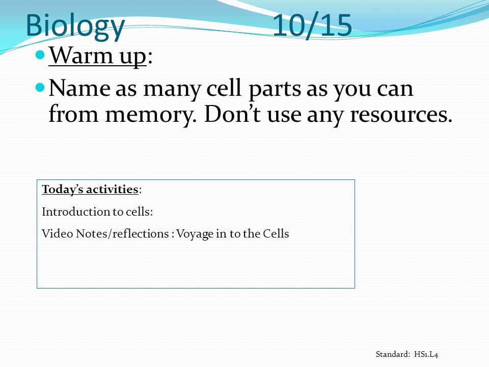 Biology 10/15 Warm up: Name as many cell parts as you can from memory. Don't use any resources.