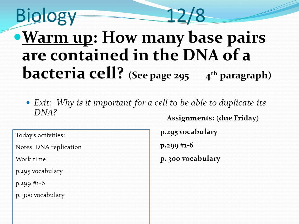 Biology 12/8 Warm up: How many base pairs are contained in the DNA of a bacteria cell (See page 295 4th paragraph)