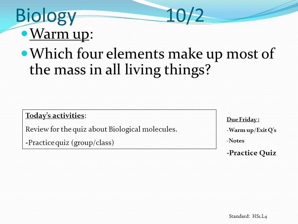 Biology 10/2 Warm up: Which four elements make up most of the mass in all living things