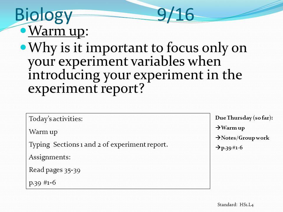Biology 9/16 Warm up: