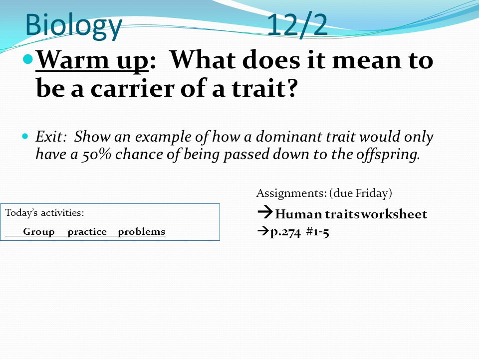 Biology 12/2 Warm up: What does it mean to be a carrier of a trait
