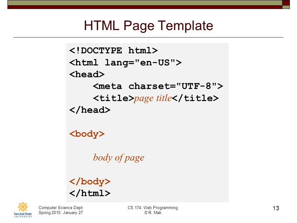 HTML Page Template <!DOCTYPE html> <html lang= en-US >