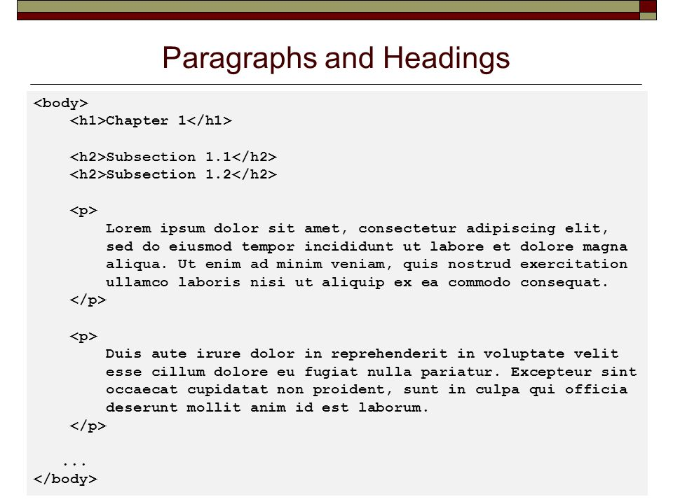 Paragraphs and Headings