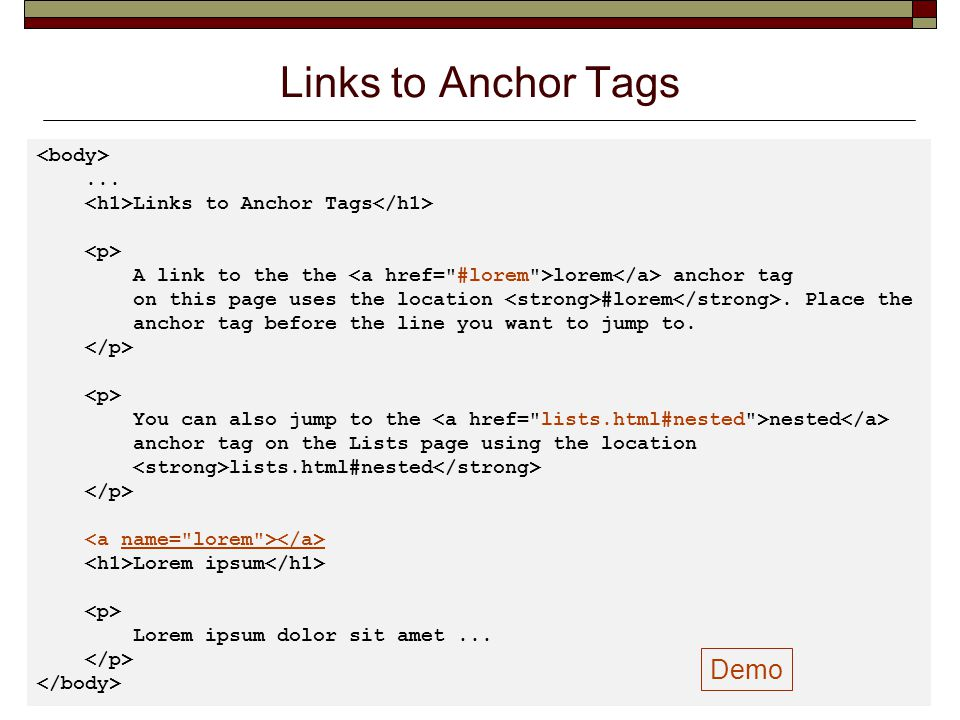 Links to Anchor Tags Demo <body> ...