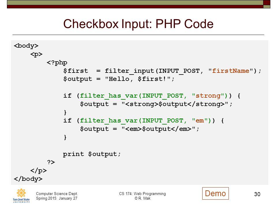 Checkbox Input: PHP Code