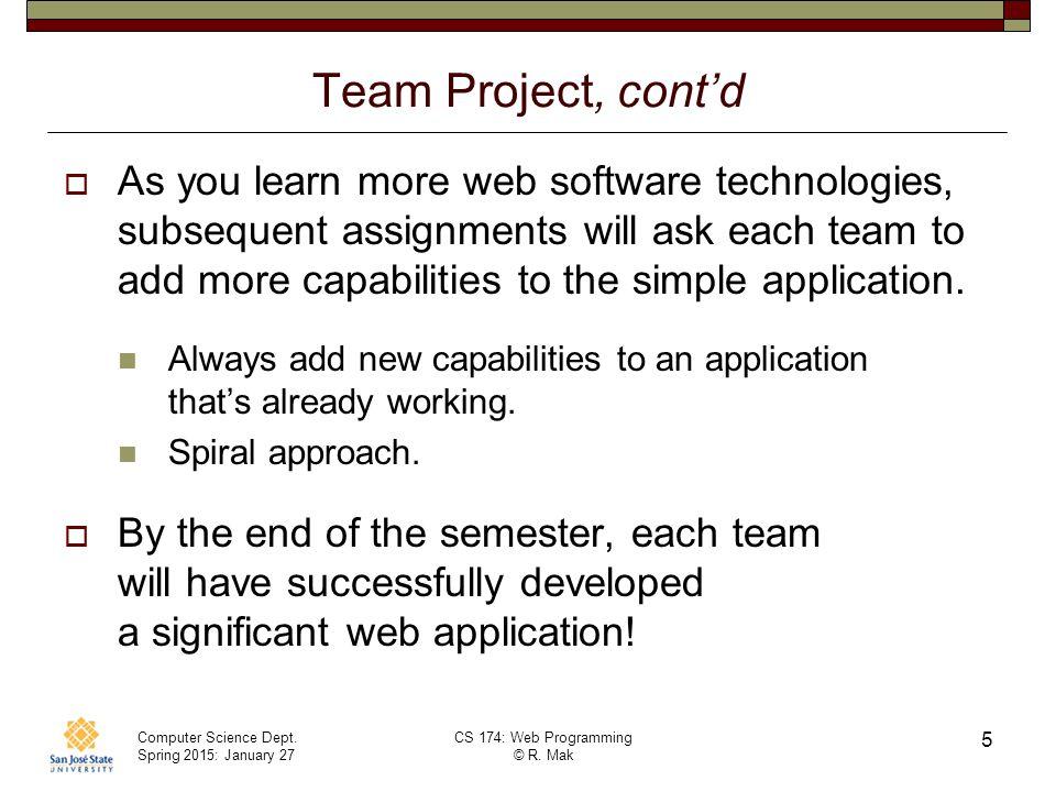 Team Project, cont'd