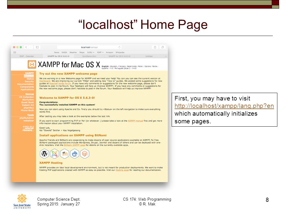 localhost Home Page First, you may have to visit