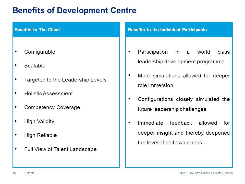 Benefits of Development Centre