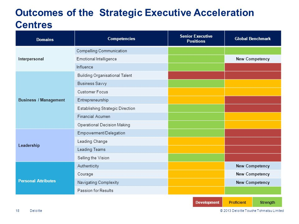 Outcomes of the Strategic Executive Acceleration Centres